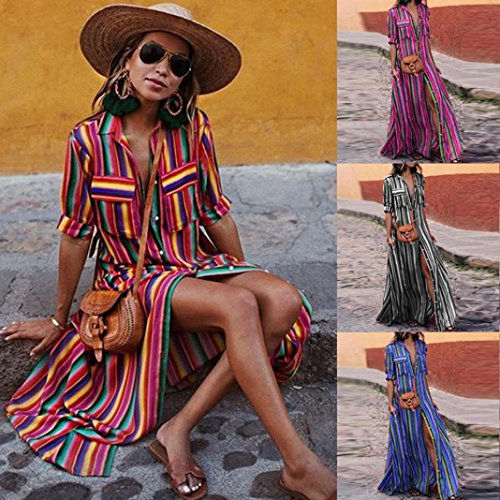AMOFINY New Women Boho Striped Multicolor Loose Button Beach Party Long Dresses by AMOFINY-Dress (Image #9)