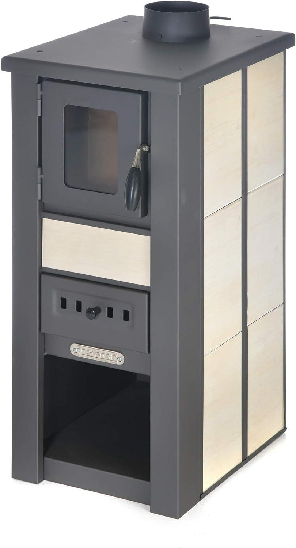 acerto 20133 Estufa LAVA Crema cerámica con ventanilla 35x44x82 cm - Estufa compacta de leña premium para habitaciones pequeñas con 85kW de potencia calorífica