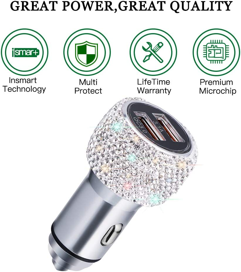 Pink SAVORI QC3.0 Dual USB Car Adapter Bling Rhinestones Crystal Fast Charging Car Decors Compatible for iPhone Xs Max XR X Plus Quick Charge Car Charger Samsung Galaxy iPad Pro//Air 2//Mini