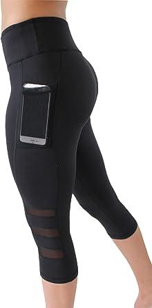 Womens Capri YOGA Workout Running Gym Sport Pants Leggings Fitness Black Mesh MH