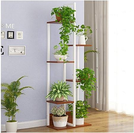 IDWOI Estantería para Plantas Soporte Macetas Estantería para Flores con 6 Niveles Metal Planta De Pie Estante Interior Escalera para Plantas, 3 Colores (Color : White+Brown): Amazon.es: Hogar