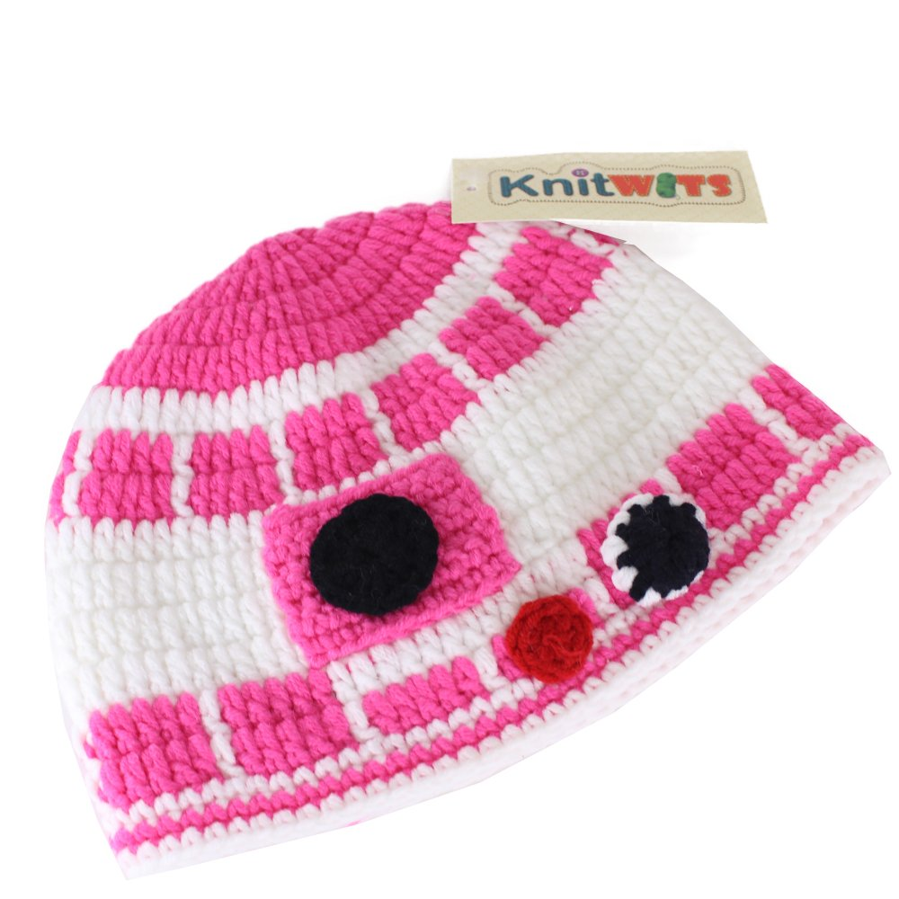 Amazon Knitwits Star Wars Pink R2d2 Crochet Beanie Medium Baby