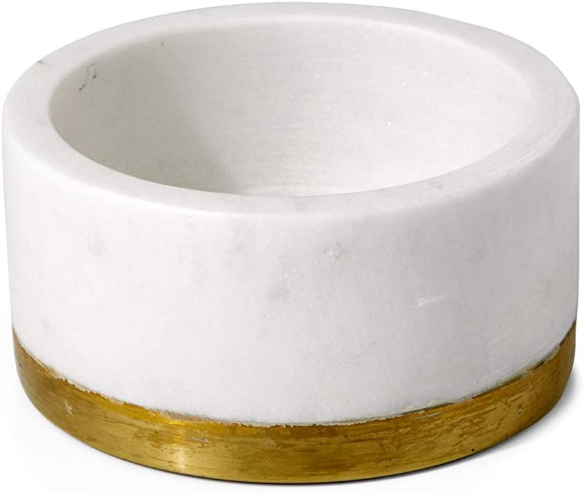"""Serene Spaces Living White Marble Bowl with Brass Ring, Decorative Multi-Purpose Bowl- Use as Centerpiece Bowl, Fruit Bowl, Candle Holder, Measures 2"""" Tall and 4"""" Diameter"""