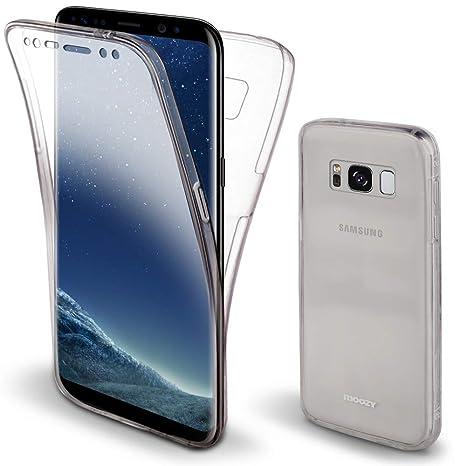 Moozy Funda 360 Grados para Samsung S8 Transparente Silicona - Full Body Case Carcasa Protectora Cuerpo Completo
