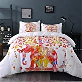 Sleepwish Elephant Bedspread, Elephant Tree of Life, Bohemian Ethnic Style Bedding, 3 Piece Super Soft Duvet Covers Full Size