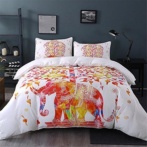 Sleepwish Elephant Duvet Cover Set Bohemian Bed Set BohoDuvetCover Elephant Tree Decal (Twin, White Elegance)