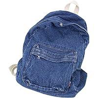 Retro Denim Backpack School Bag Sports Bag Large-capacity Bookbag for Students Travel Bag - Nay Blue