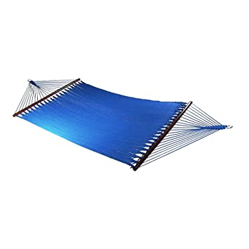 Medium image of sunnydaze large 2 person soft spun polyester rope hammock with spreader bars blue