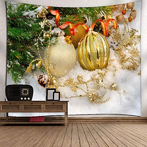 YQ Park Home Decor Merry Christmas Bal Tapestry Wall Art Wall Hanging Bedroom Living Room -