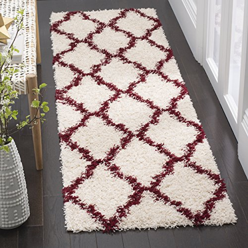 Safavieh Dallas Shag Collection SGD257R Ivory and Red Runner (2'3