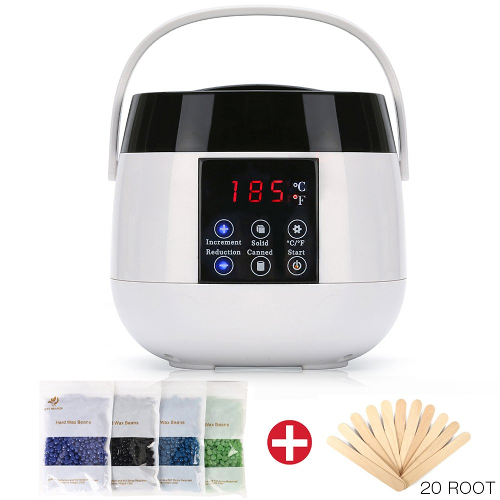 RioRand Upgraded Wax Warmer Hair Removal Kit for Women and Men Electric Wax Heater Home Waxing Machine for Body Face and Bikini Area with 4 Flavor Hard Wax Beans and 20 Wax Applicator Sticks