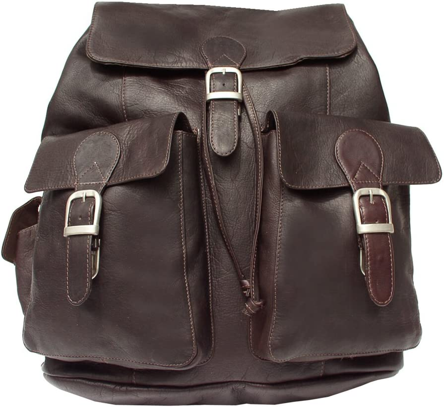 Piel Leather Large Buckle-Flap Backpack, Chocolate, One Size
