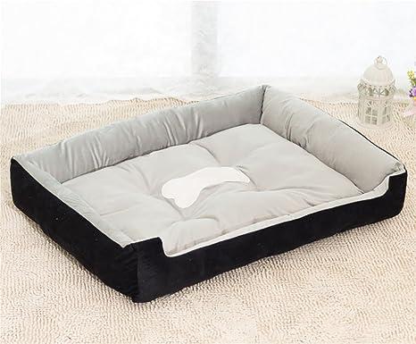 AnGe Cama para perro lavable fácil de limpiar Cama para mascota rectangular / nido , black