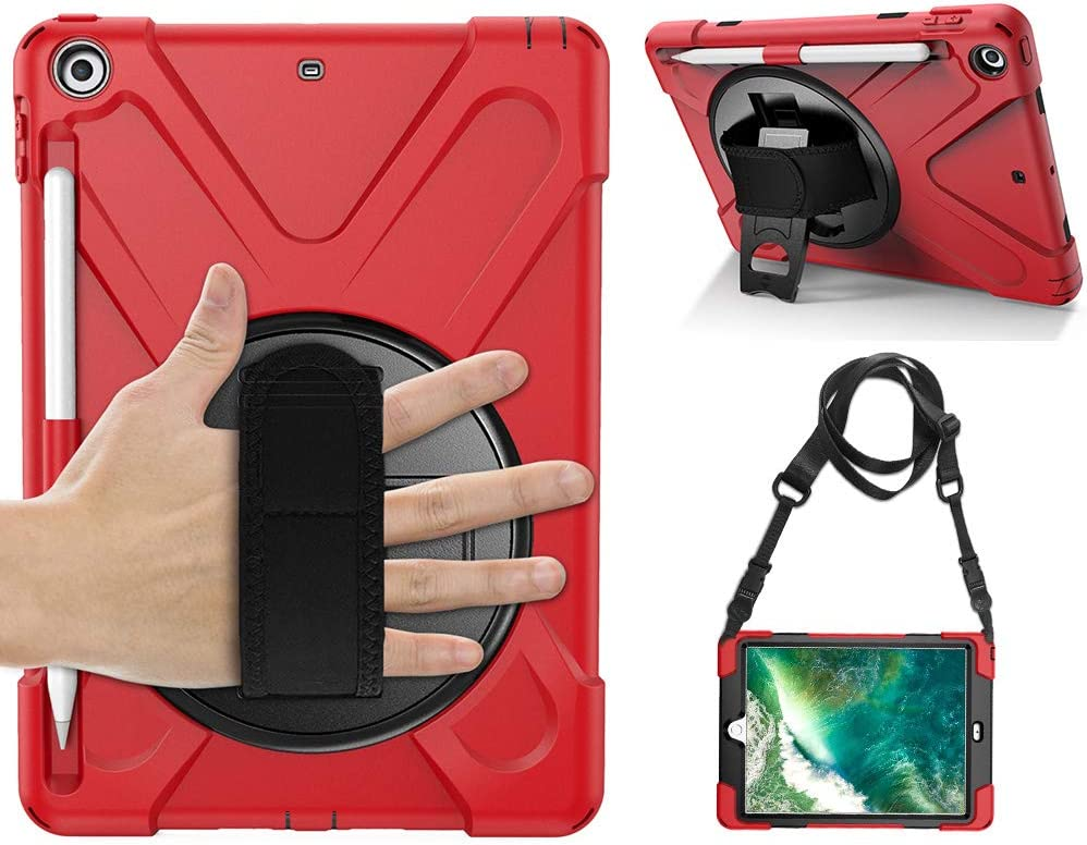 Gzerma for iPad 9.7 Case with Pencil Holder, Rotating Kickstand, Handle and Shoulder Strap, 3in1 Rugged [Kids Proof] Hard PC Cover Rubber Shell Protective for iPad 6th Generation (A1893/A1954), Red