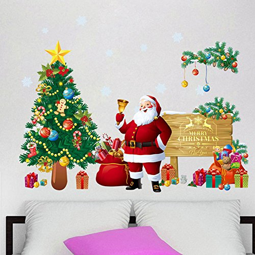 Bidlsbs Christmas Tree Santa Claus Gift Bag Wall Sticker Waterproof Vinyl Removable 3D Wall Art Decals DIY Mural Wallpaper for Room Festival New Year Holiday Home - Wall Christmas Decals