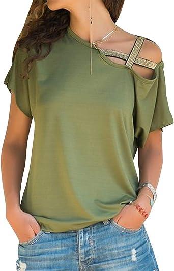 Camiseta Hombros Descubiertos Mujer Camisetas Lisas Sin Hombros Manga Corta Mujeres Oversize Anchas Tops Verano Casual Remeras Largas Damas Playeras Camisas Señora Blusas Amplias: Amazon.es: Ropa y accesorios