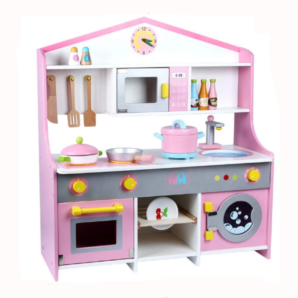 おままごと キッチン おもちゃ ままごと遊び 台所 木製 組立式 安心安全設計 子供用 誕生日プレゼント 鍋 フライパン 食器 調理器具付(Bスタイル)  Bスタイル B07J4Z3MRW
