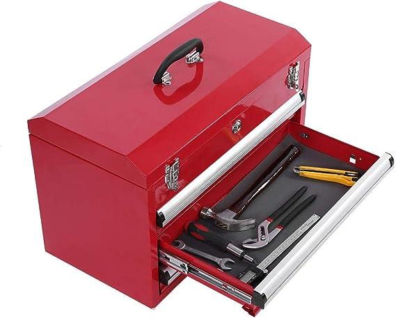 Armario de Herramientas de 3 Capas con Cerradura y Asa, Caja de Herramientas Portátil con 3 Cajones, Organizador de Almacenamiento, Rojo: Amazon.es: Bricolaje y herramientas