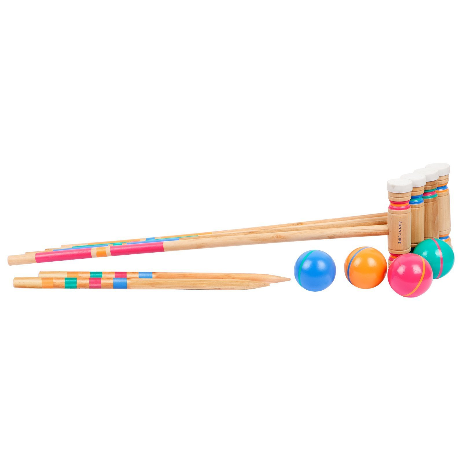 SunnyLIFE Full Croquet Equipment Set with Carry Bag for Portable Game Time - Catalina Multi
