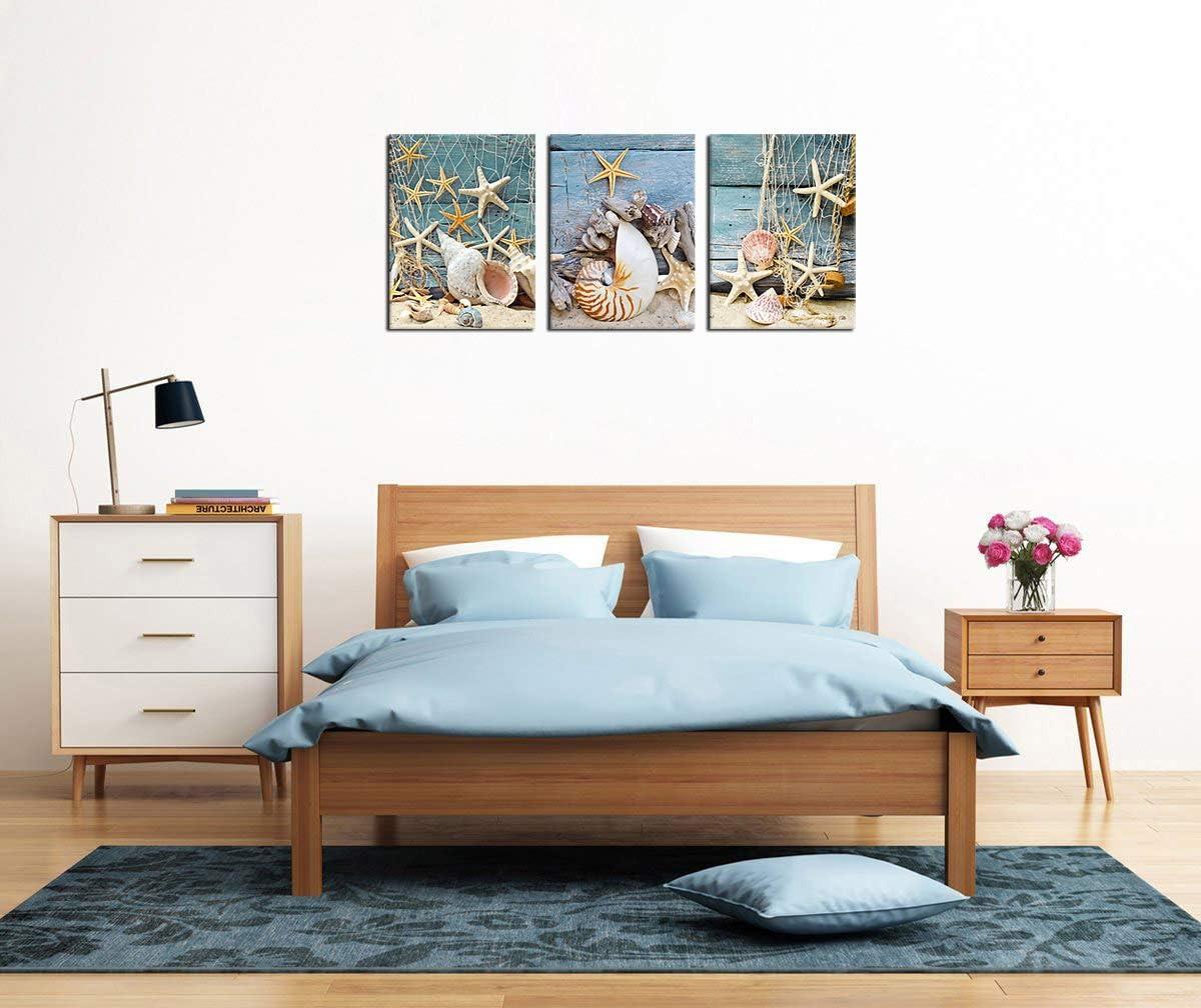 Ocean Beach Canvas Wall Art Bathroom Bedroom Wall Decor Canvas Pictures Starfish Shell Sea Snail Conch