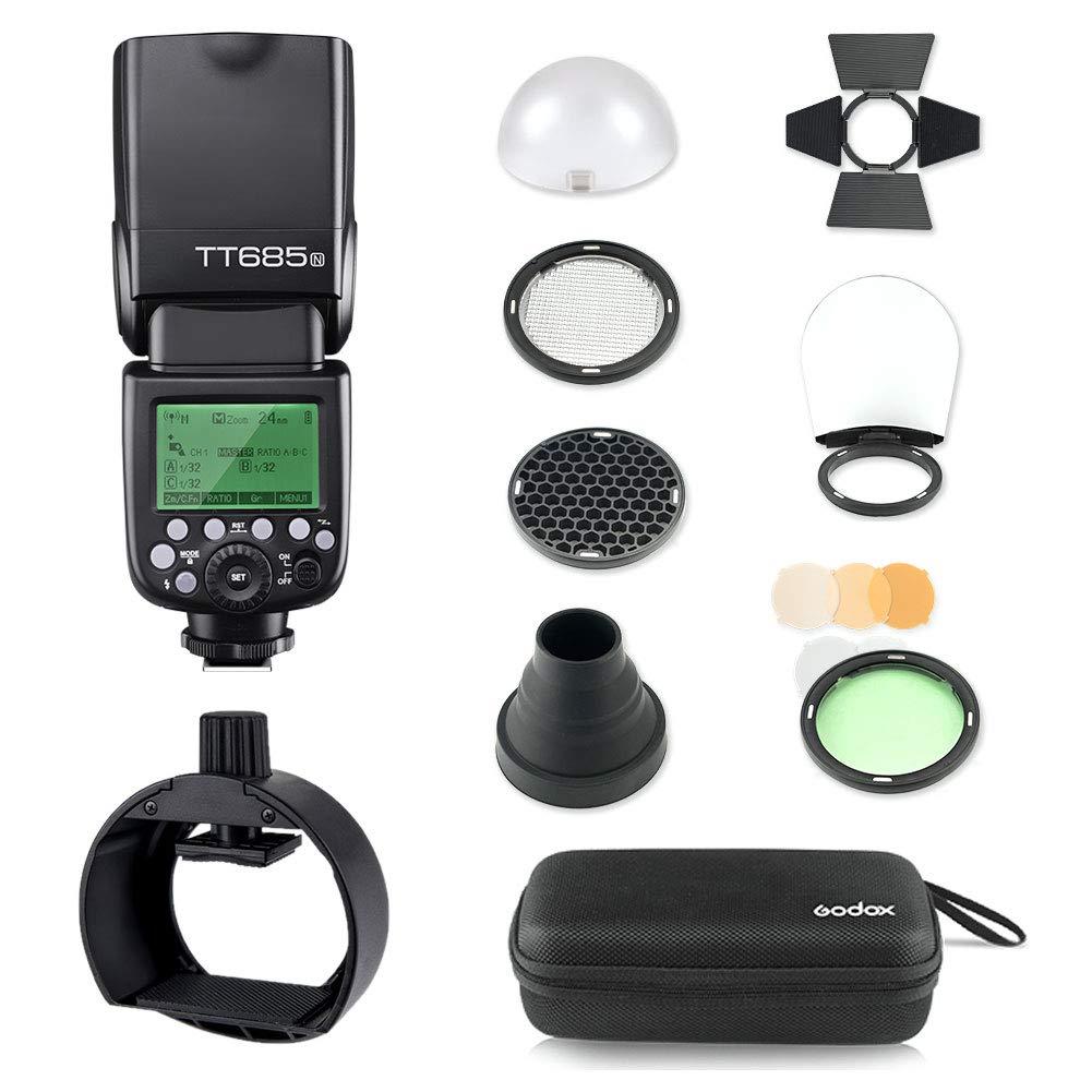 Godox Thinklite TT685N TTL I-TTL 2.4GHz GN60 High Speed Sync 1/8000s Wireless Master Slave Camera Flash Speedlite Speedlight Compatible for Nikon Cameras&S-R1 Flash Adapter&AK-R1 Flash Head Accessory by Godox