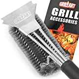 GRILLART Grill Brush and Scraper - BBQ Brush for Grill 3in1 Durable and Effective Safe Barbecue Grill Brush Stainless Steel - Grill Cleaner Brush for All Barbecue Lovers