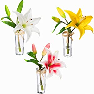 Looks and Feels Real Stargazer Lily, Set of 3-2 x 2 x 9 Inches