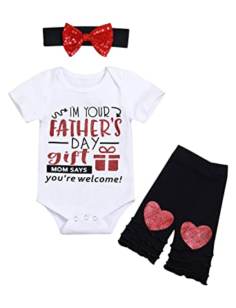 3c89cd4f My 1st Father's Day Baby Girl Outfits Romper + Legging with Headband Newborn  Girl Fathers Day