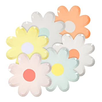 Amazon.com: Meri Meri Pasel Daisy Paper Plates (Pkg/12): Health ...