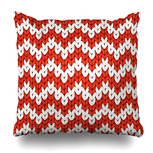 (Ahawoso Throw Pillow Cover Flower Winter Red White Zigzag Christmas Zig Zag Cross Pattern Slavic Wool Craft Design Zippered Pillowcase Square Size 18 x 18 Inches Home Decor Pillow Case)
