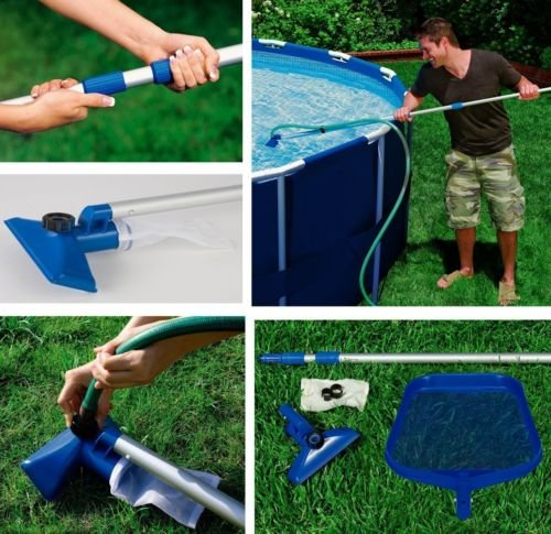 KSB Intex Cleaning Maintenance Swimming Pool Kit w/ Vacuum Skimmer & Pole | 28002E by kuang
