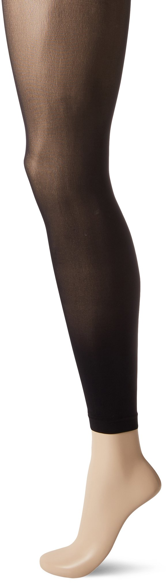 HUE Women's Flat-Tering Fit Opaque Footless Tights, Black, 1