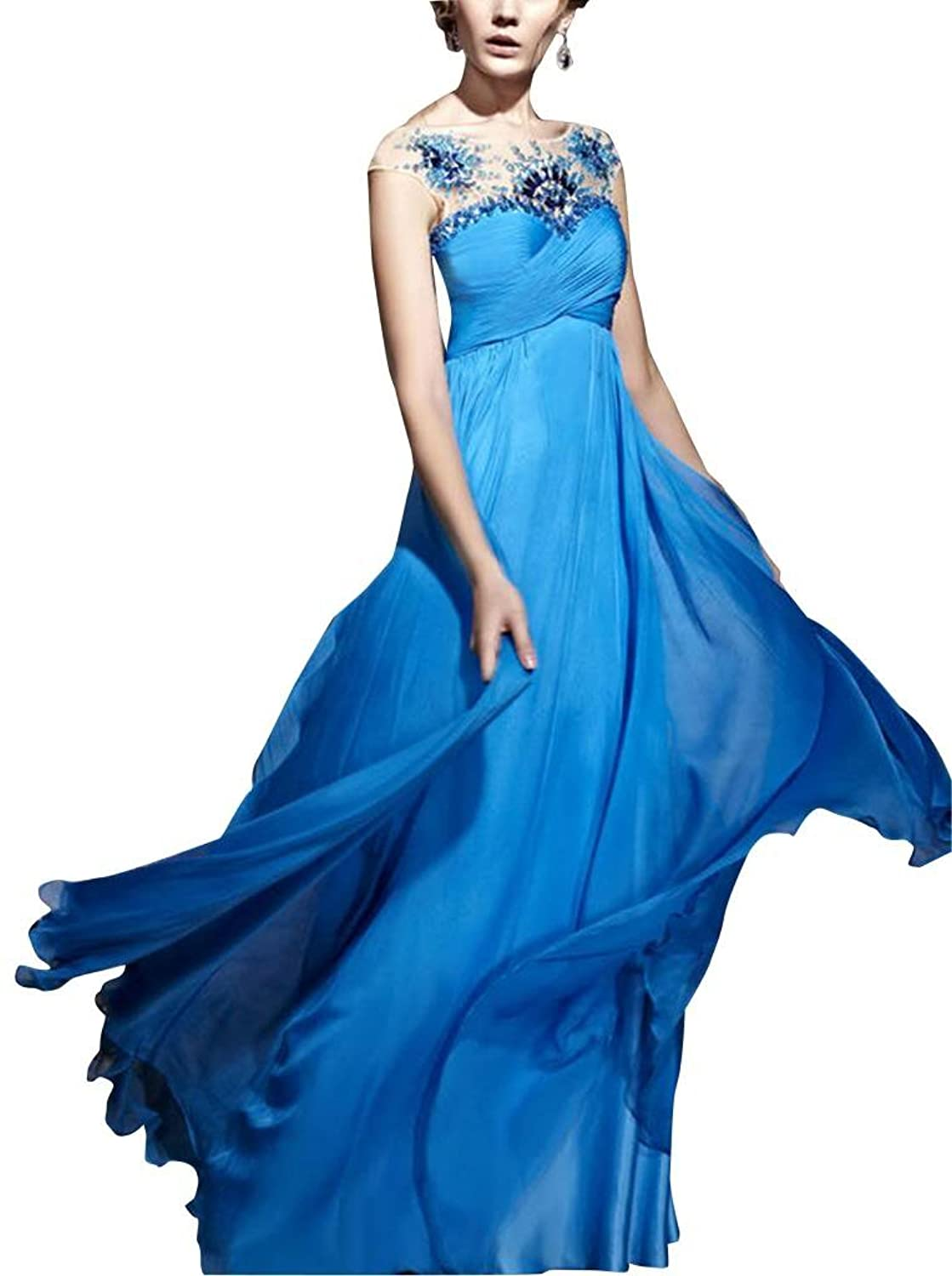 GEORGE BRIDE Blue Sheath/ Column Off Shoulder Floor-Length Chiffon Evening Dress With Beaded Lace Appliques