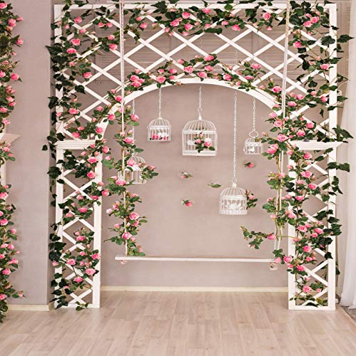 Baocicco 10x10ft Spring Artistic Indoor Decorations Backdrop Wisteria Rose Flowers Arches Birdcage Swing Wooden Floor Background Wedding Ceremony Birthday Children Adults Portrait Studio