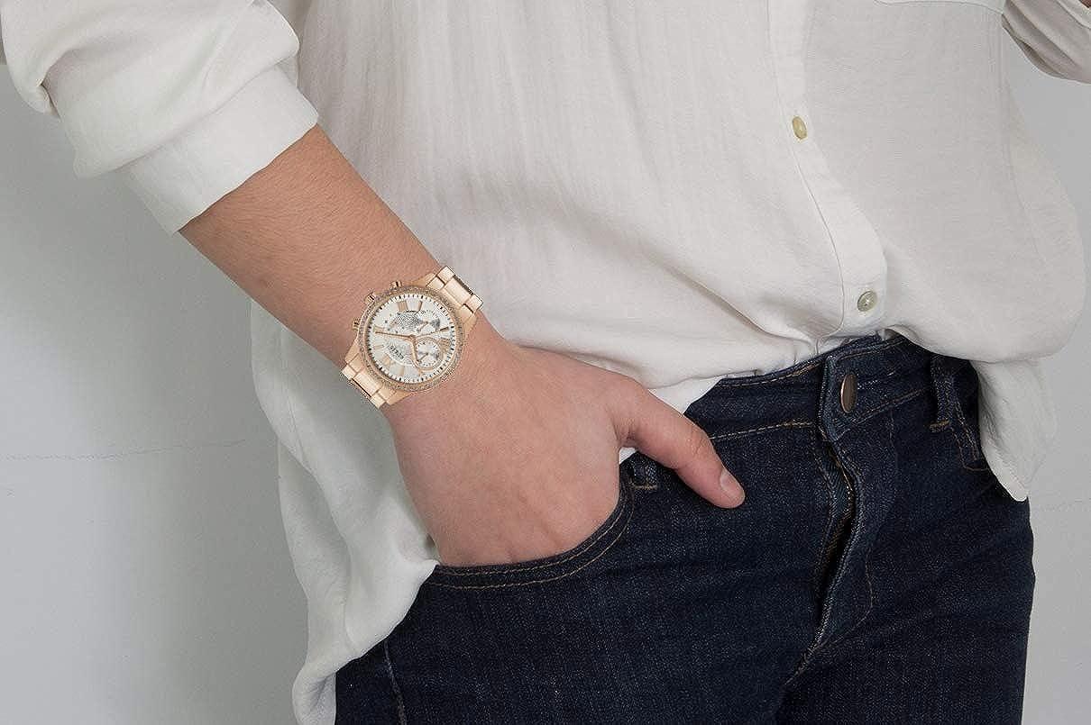 Guess Montre Femme Multi Dial Solar avec Bracelet en Acier Inoxydable Or Rose