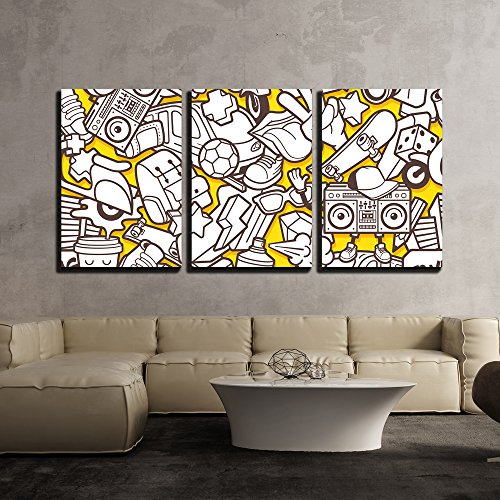 (wall26 - 3 Piece Canvas Wall Art - Vector - Graffiti Seamless Pattern with Urban Lifestyle Line Icons - Modern Home Decor Stretched and Framed Ready to Hang - 24