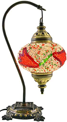 Mosaic Table Lamp,Lamp Shade,Turkish Lamp,Moroccan Lamp,Swan Neck