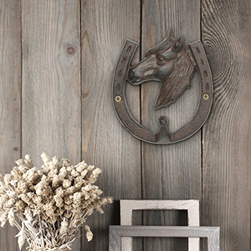 Stonebriar Cast Iron Horse and Horseshoe Decorative Wall Hook, Unique Western Design, For Entryway, Bathroom, or Kids Room
