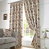 Sundour Hereford Floral Woven Fully Lined Readymade Pencil Pleat Curtains, Terracotta - 90 x 90 by Dove Mill Curtains