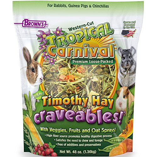 Tropical Carnival F.M. Brown's Natural Timothy Hay Craveables with Veggies, Fruits, and Oat Sprays, 48-oz Bag - Foraging Treat with High Fiber for Healthy Digestion ()