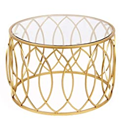 Ideal Small Living Room Coffee Table Round Tempered Glass Countertop Metal Frame Gold