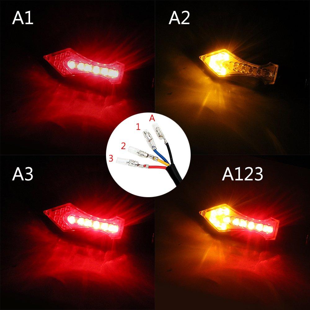 Shiwaki 2 X Luces Intermitentes LED Intermitentes De Moto Universal Indicadores Luz /ámbar