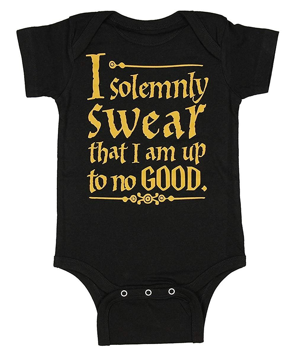Harry Potter Unisex Baby I Solemnly Swear That I Am up to No Good One Piece Bodysuit (6 Months, Black - S/S)