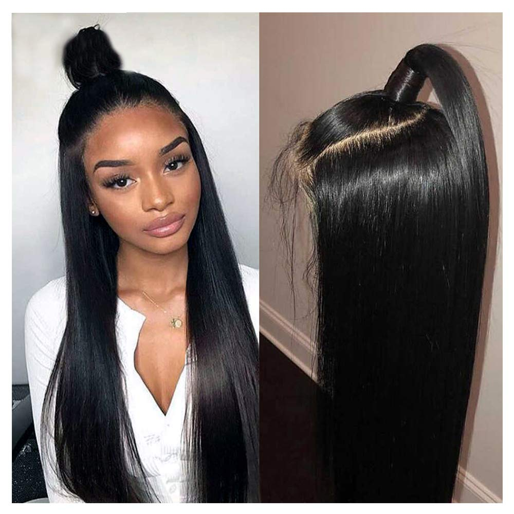 360 Wig, VIPbeauty 130% Density Glueless Brazilian Straight Human Hair 360 Lace Frontal Wigs Pre Plucked with Baby Hair for Black Women(16'', Nature Color) by VIPbeauty
