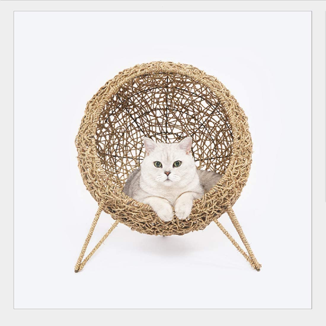 zeze Cat House Rattan Knitting Four Seasons Universal cat House Web Celebrity cat Bed cat House Knitting cat House pet Supplies