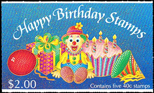 Stamp Booklet Pane (New Zealand Scott 1032a 40c Clown, 40c Balloons, 40c Birthday Hat, 40c Present and 40c Cake and Candles Se-tenant Booklet pane of 5 Complete Booklet. Mint never hinged.)