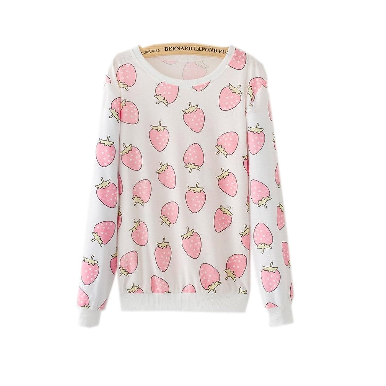 2017 Womens Harajuku Kawaii Pastel Strawberry Pink Sweatshirts