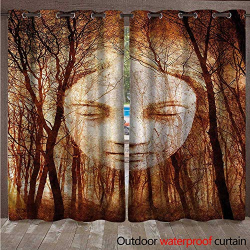 - cobeDecor Quirky Outdoor Curtains for Patio Sheer Girl Face on Misty Forest W84 x L84(214cm x 214cm)
