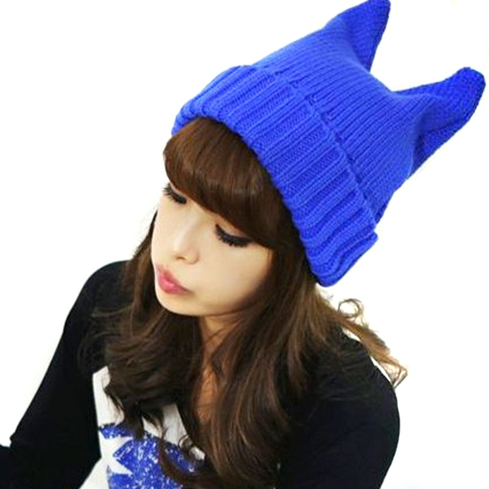 LOCOMO Women Girl Cute Devil Horn Cat Ear Slouchy Knit Beanie Hat Cap FAF033