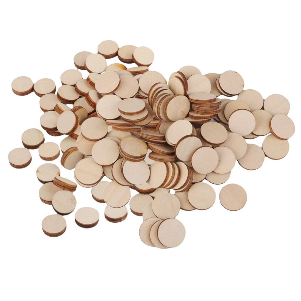Baoblaze 200 Pieces Blank Plain Round Shaped Cutouts Natural Wood Slices Discs Wooden Embellishments - Scrapbooking Shapes for DIY Craft Decoration Buttons Making Cards - 10mm 20mm